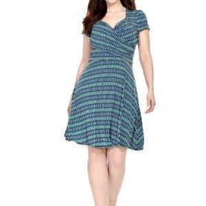Leota Compass Rose Blue Printed Sweetheart Dress S